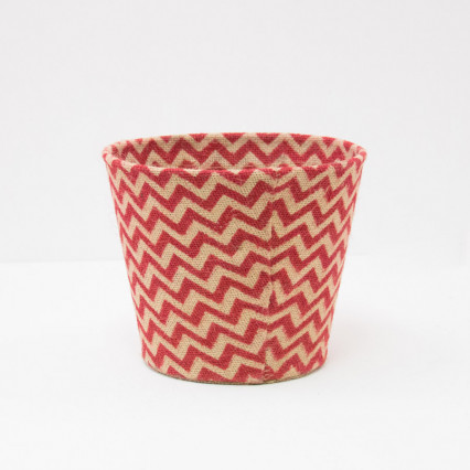 Small Chevron Jute Covered Tin Planter - Red