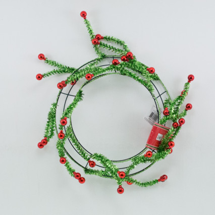 "24"" Green Tinsel Pine Work Wreath w Red Balls"