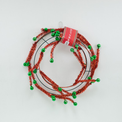 "24"" Red Tinsel Pine Work Wreath w Green Balls"