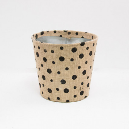 Large Polka Dot Jute Covered Tin Planter - Black