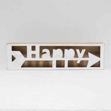 Wood Table Top Happy Sign