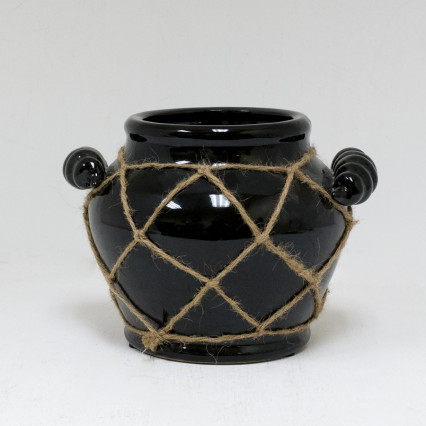 Black Ceramic Pot with Rope