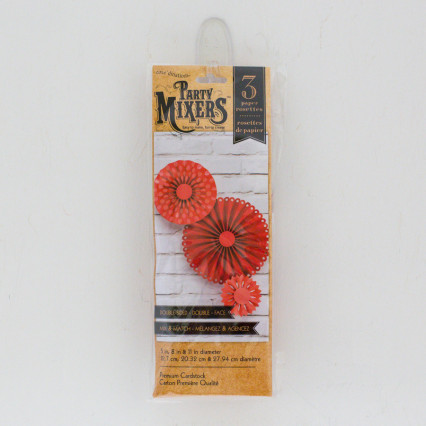 Set of 3 Paper Rosettes - Red