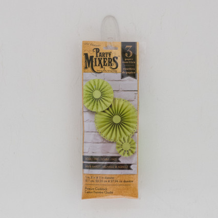 Set of 3 Paper Rosettes - Green