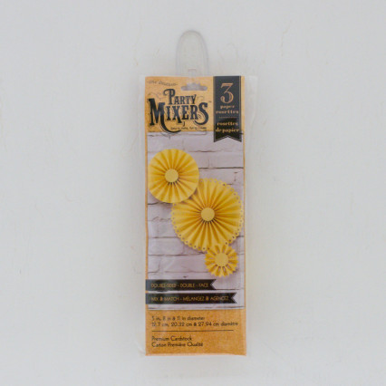 Set of 3 Paper Rosettes - Yellow
