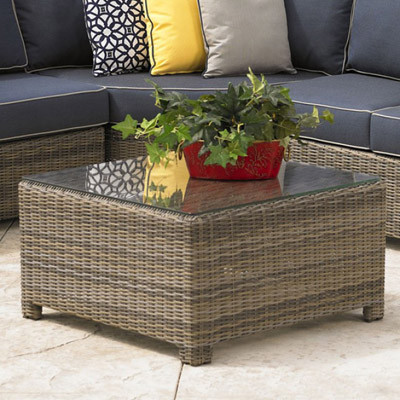 NorthCape NC275CT-GL Bainbridge Outdoor Coffee Table w/ Glass