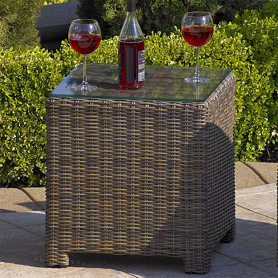 NorthCape NC275ET-GL Bainbridge Outdoor End Table w/ Glass