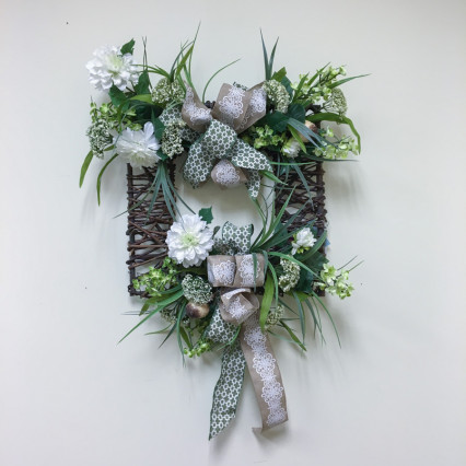 Greens & Cream Square Grapevine Wreath