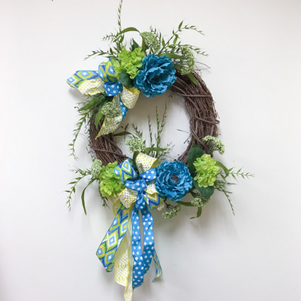 Turquoise & Lime Floral Grapevine Wreath
