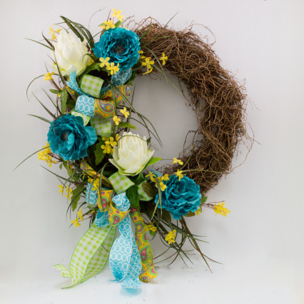 Turquoise & Cream Floral Grapevine Wreath