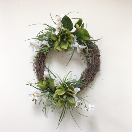 Magnolia & Orchid Grapevine Wreath