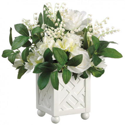 White Roses & Lily of the Valley in White Planter