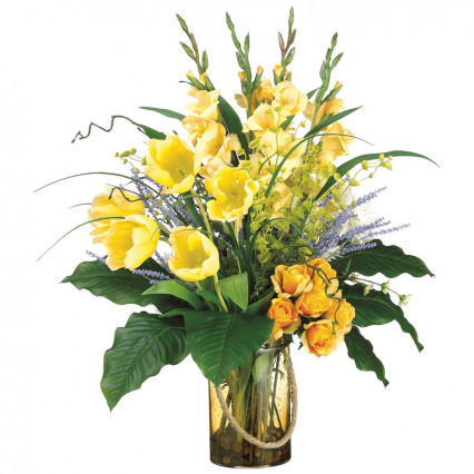 Gladiolus, Tulips, & Roses in Yellow Glass Vase