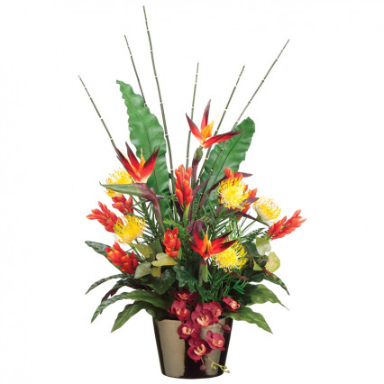 Bird of Paradise, Protega & Ginger Flower in Ceramic Pot