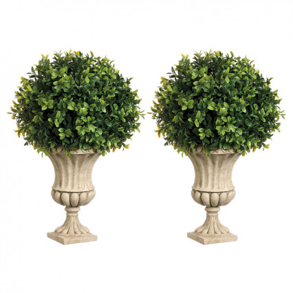 Set of 2 - Boxwood Balls in Resin Urn