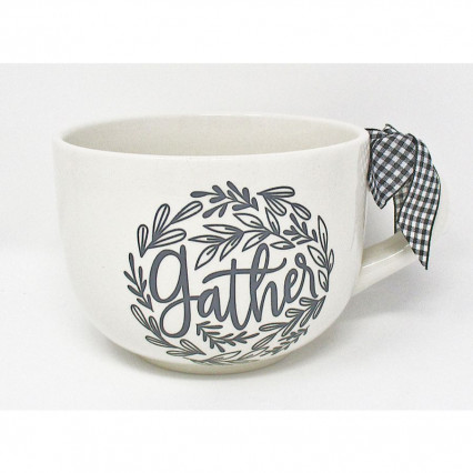 Gather Black and White Buffalo Plaid Ceramic Mug 3.5""
