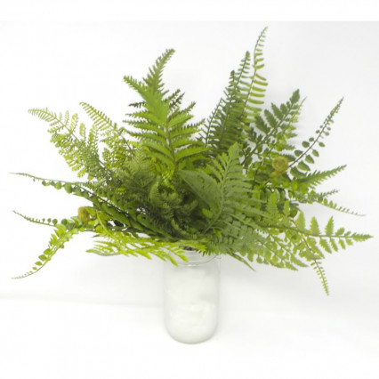 "17"" Mixed Fern Bush-Green"