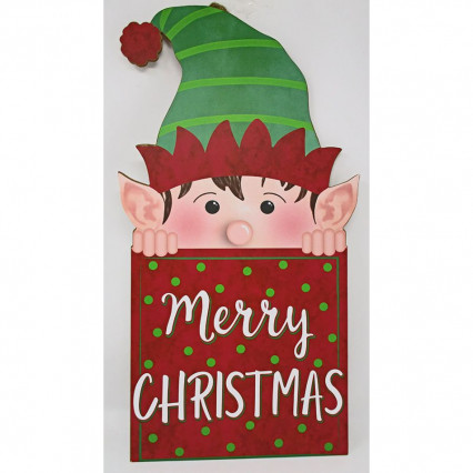 Merry Christmas Peeking Elf Sign