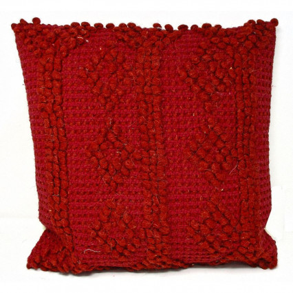 Dark Red Textured Accent Throw Pillow