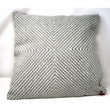Gray and White Textured Throw Pillow