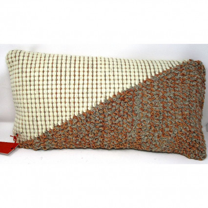 Brown Gray and Natural Diagonal Textured Throw Pillow