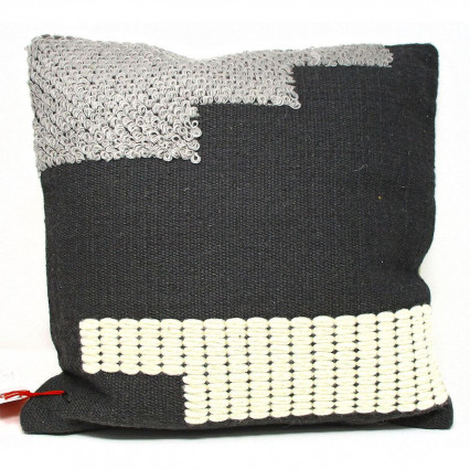 Gray Balck Natural Block Textured Throw Pillow