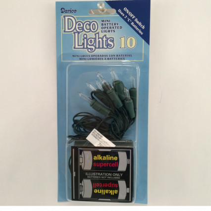 Darice 2422-50 Mini Battery Operated Clear Lights Green Wire (On/Off Switch)