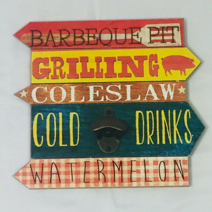 """Barbeque, Grilling, Coleslaw"" Wall Mounted Bottle Opener"