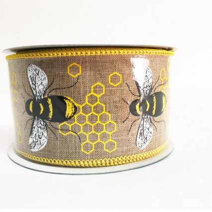 "2.5"" x 10yds Bee Pattern Ribbon"