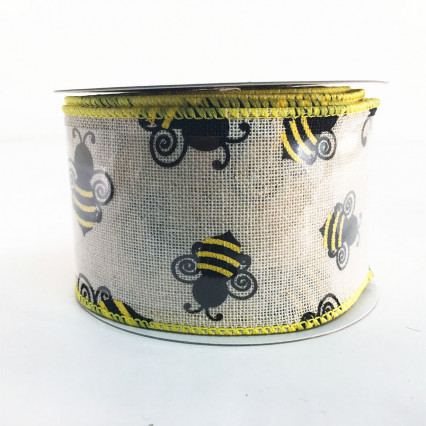 Jascotina SP711-4-02 2.5 x 10YD Bee Pattern Ribbon