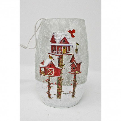 Cardinal Bird House Light Up Christmas Decor