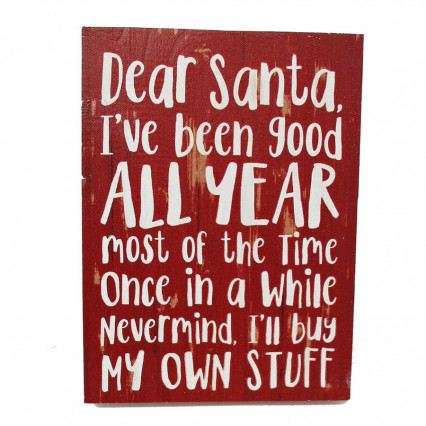 Dear Santa Wooden Block Sign