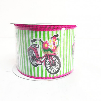"2.5"" x 10YD Bicycle Pattern Ribbon"