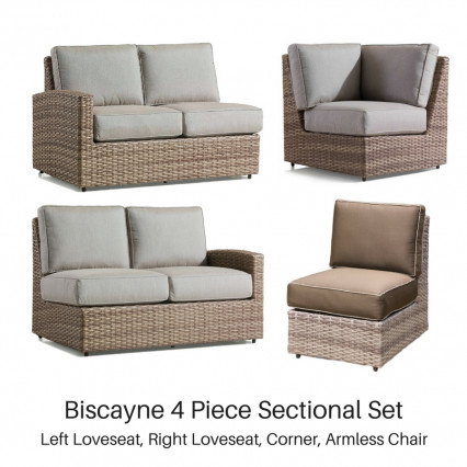 Erwin & Sons Biscayne 4 Piece Sectional Set - Fieldstone