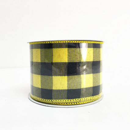 "2.5"" x 10yds Black and Yellow Chex Pattern"
