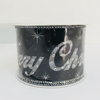 Caffco Merry Christmas Glitter Black Ribbon 2.5 x 10yd 100% Polyester
