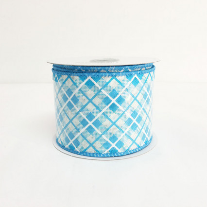 "2.5"" x 10yds Blue Argyle Pattern Ribbon"