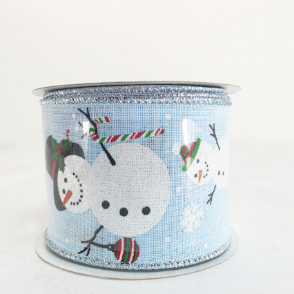 "2.5"" x 10Y Decorative Snowman Christmas Blue Ribbon"