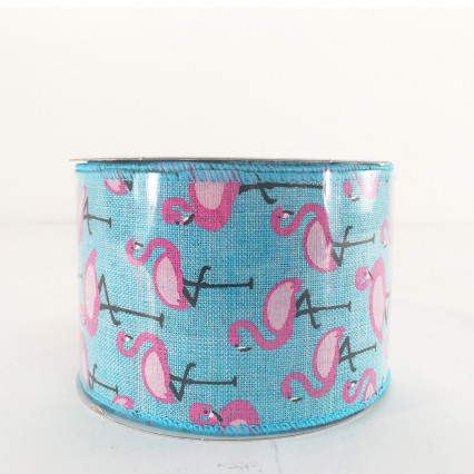 Jascotina Blue Ribbon with Flamingos