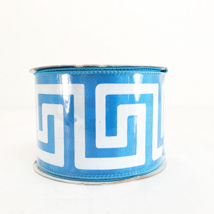 "2.5"" x 10Y Turquoise Greek Key Ribbon"