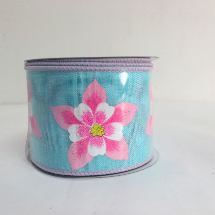 "2.5"" x 10yds Blue and Pink Hibiscus Flower Ribbon"