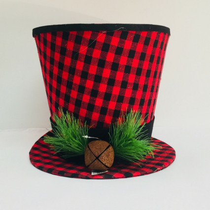 Buffalo Check Top Hat ChristmasTree Topper