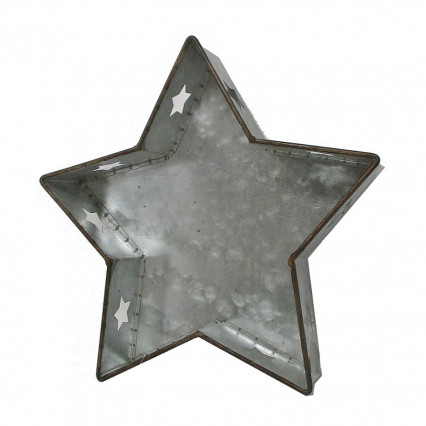 Galvanized Star Cut-out Christmas Decor 11.5""