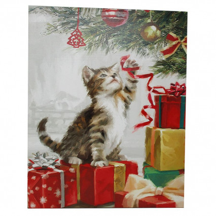 Cat Christmas Tree LED Light Up Canvas Print