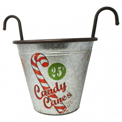 Candy Cane Galvanized Handle Bucket Christmas Decor