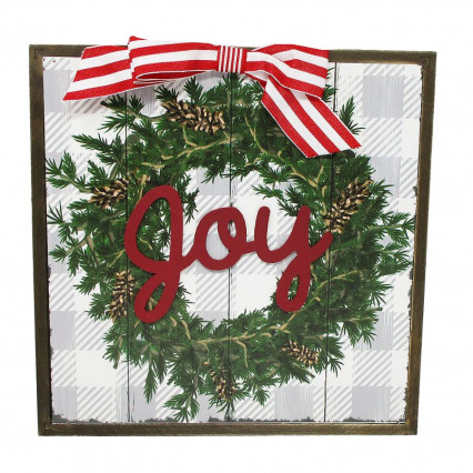Joy Wreath Christmas Wooden Hanging Sign