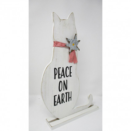 Peace on Earth Cat Wood Sign