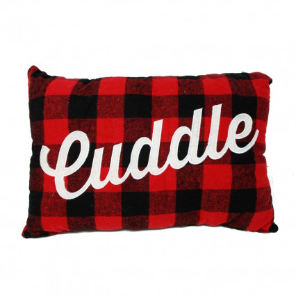 Cuddle Red Black Buffalo Plaid Accent Throw Pillow