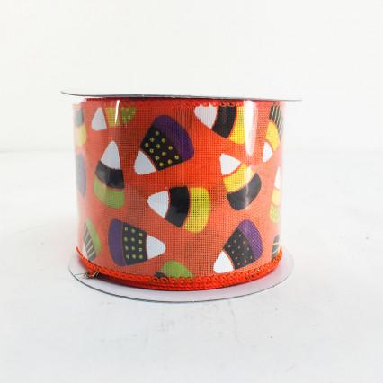 "Jascotina 2.5"" x 10Y Decorative Candy Corn Ribbon"