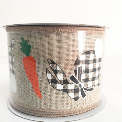 "2.5"" x 10YD Carrots and Bunny Ribbon"